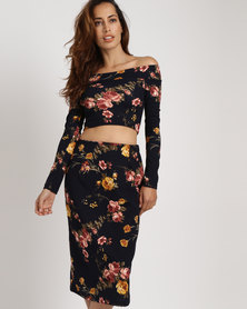 Black Buttons Floral Crop And Pencil Skirt Navy