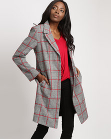 Utopia Check Melton Classic Coat Black/White