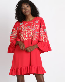 Utopia Tunic Dress With Embroidery Red