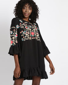 Utopia Tunic Dress With Embroidery Black