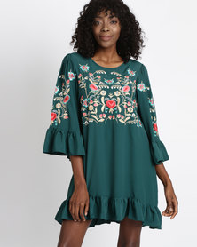 Utopia Tunic Dress With Embroidery Emerald