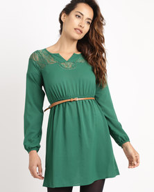 Utopia Belted Tunic With Lace Inset Forest Green