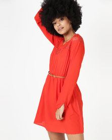Utopia Belted Tunic With Lace Inset Tangerine