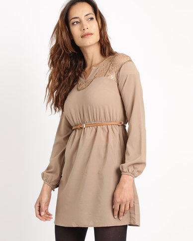 Utopia Belted Tunic With Lace Inset Neutral