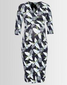 Me-A-Mama Mock Wrap Floral Dress Multi