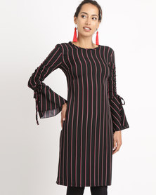 Utopia Pinstripe Dress With Ruched Sleeve Black