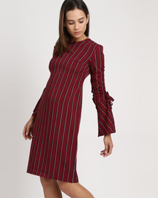 Utopia Pinstripe Dress With Ruched Sleeve Burgundy