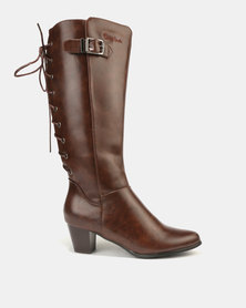 Pierre Cardin Lace Up Detail Heeled Long Boots Brown