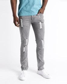 K7Star Retro Rocker Skinny Jeans Grey