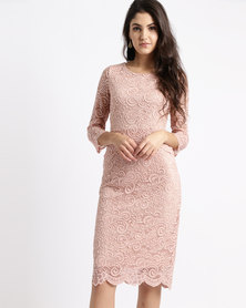 Queenspark Double Layer Lace Knit Dress Peach