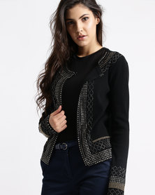 Queenspark Glamour Beaded Knit Jacket Black