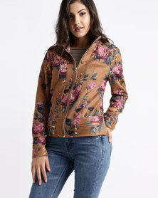 cath.nic By Queenspark Pansy Print Pleather Woven Jacket Multi