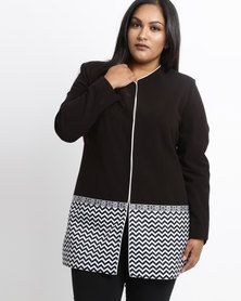 Queenspark Plus Edge To Edge Fancy Knit Coat Black