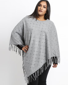 Queenspark Plus Beaded Poncho Knitwear Charcoal