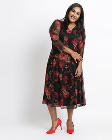 Queenspark Plus Fit & Flare Floral Mesh Dress Black