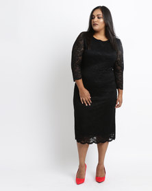 Queenspark Plus Overlay Stretch Lace Knit Dress Black