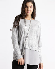 Miss Cassidy By Queenspark Combo Knit with Scarf Detail Top Silver