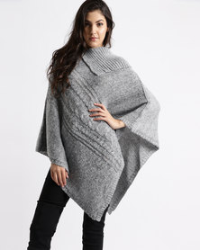 Miss Cassidy By Queenspark Marled Knit Poncho Silver
