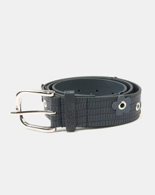 Queenspark Daisy Eyelet Belt Navy