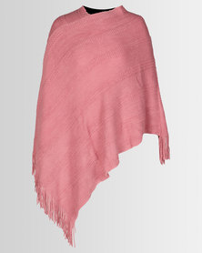 Queenspark Spaced Textured Poncho Pink