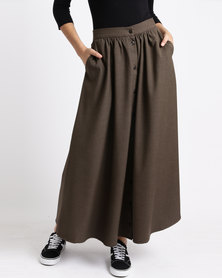 Seruna Button Down Skirt Brown