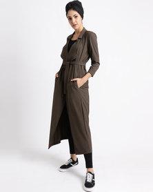 Seruna Trench Coat With Belt Brown