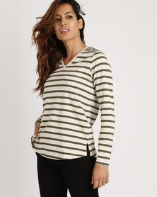 Yarra Trail Embellished Shoulder Detail Stripe Top Multi