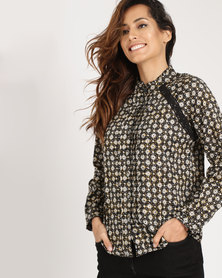 Yarra Trail Long Sleeve Daisy Print Blouse Multi