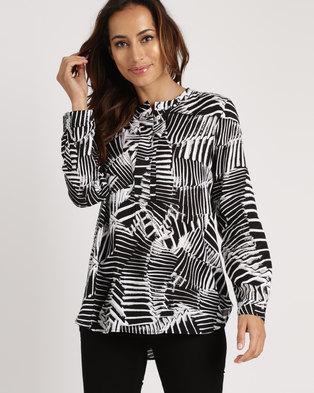 Yarra Trail Long Sleeve Wings Print Shirt Black & White