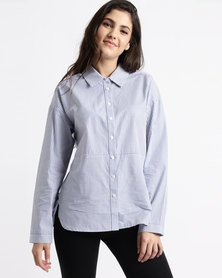Yarra Trail Long Sleeve Stripe Shirt Indigo & White