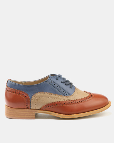 sale popular recommend Urban Zone Urban Zone Flat Lace Up Brogues Brown get authentic for sale yRRNYUvhvt