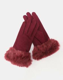 Utopia Faux Fur Trim Gloves Burgundy