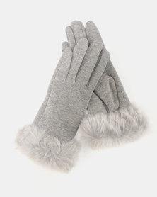 Utopia Faux Fur Trim Gloves Grey