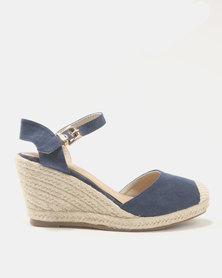 Queue Ankle Strap Wedges Navy