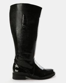 Franco Ceccato Croc Print Long Boots Black