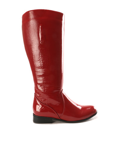 Franco Ceccato Croc Print Long Boots Red