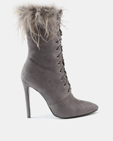 Wild Alice by Queue Lace Up Boots With Feather Detail Grey
