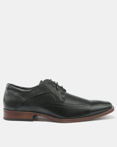 Franco Ceccato Brogue Leather Lace Up Shoes Black
