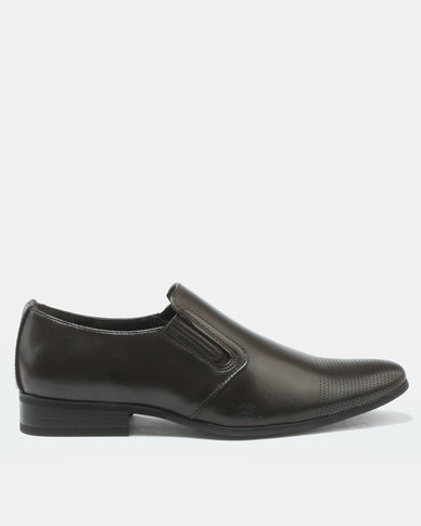 FRANCO CECCATO FORMAL SLIP ON WITH GUSSET INSET BROWN
