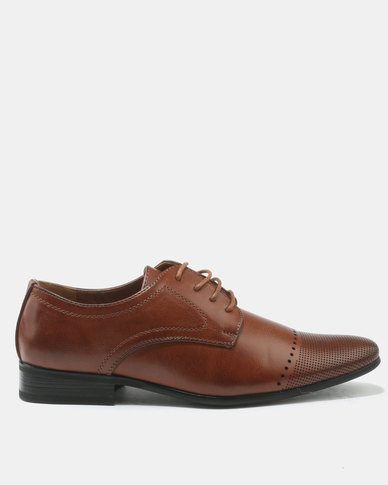 FRANCO CECCATO FORMAL LACE UP WITH PIN PUNCH DETAIL TAN