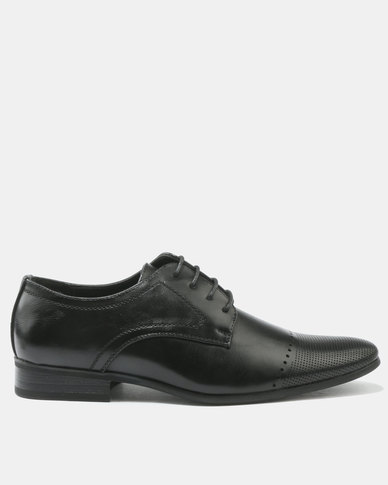 FRANCO CECCATO FORMAL LACE UP WITH PIN PUNCH DETAIL BLACK