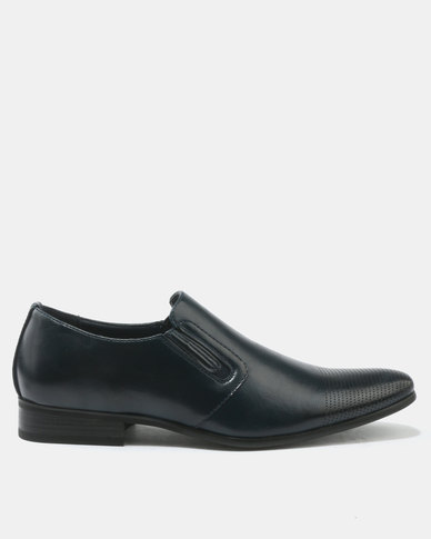 FRANCO CECCATO  FORMAL SLIP ON WITH GUSSET INSET NAVY