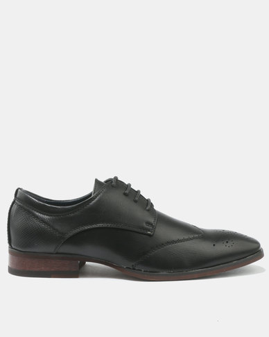 Franco Ceccato Formal Lace Up Shoes With Side Gusset And Pin Punch Detail Black