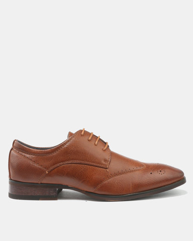Franco Ceccato Formal Lace Up Shoes With Side Gusset And Pin Punch Detail Tan