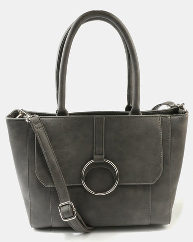 Queue Structured Tote Bag With Trim Grey