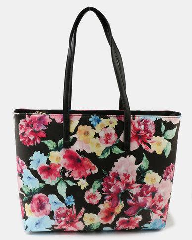 Queue Printed Tote Bag Floral Black