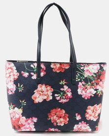 Queue Printed Tote Bag Floral Blue