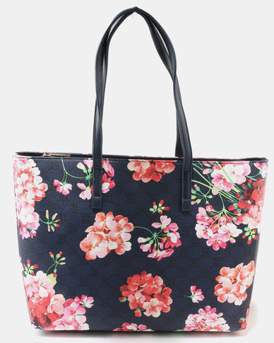 Queue Printed Tote Bag Floral Blue