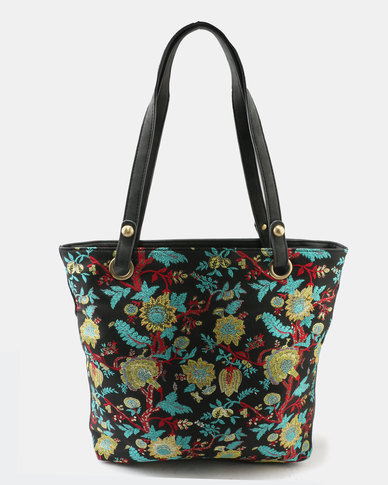 Queue Printed Shopper Bag Floral Black