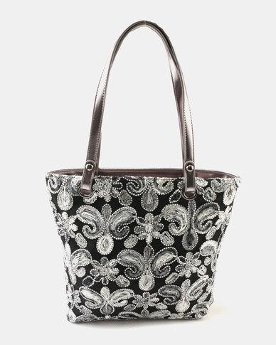 Queue Embellished Shopper Bag Grey Multi